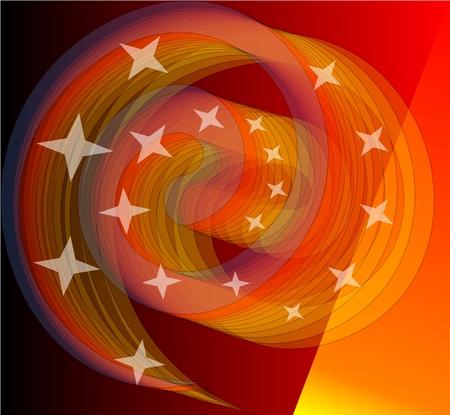 小さな星と鮮やかなオレンジ色の spirale をブレンドします。 勇気ある前衛的なデザイン要素は、黒の背景でも対応します。  イラスト・ベクター素材