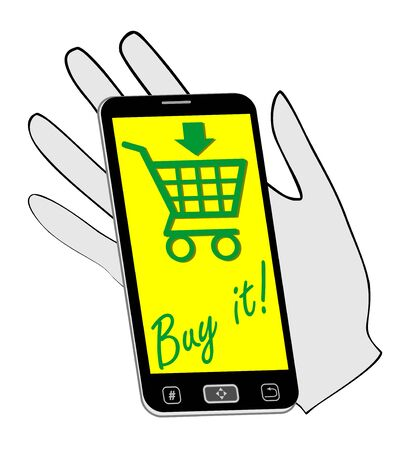 distinctive: Smartphone on the palm invites you to buying on the Internet. The distinctive green drawing on a yellow background. Internet business advertising