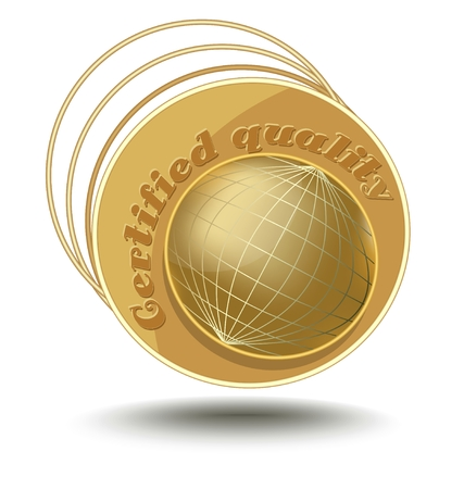 gold globe: Gold globe on emblem with inscription certified quality. Useful design emblem for high quality products in metal golden performance