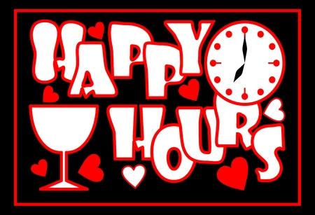 happy hours: Happy hours inscription en couleur rouge avec le visage d'horloge, verre de vin et des coeurs sur le fond noir, Publicit� pour le restaurant, discoth�que, bar, club de nuit. Les inscriptions dans le style grunge