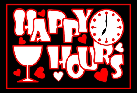 hour: Happy hours inscription in red color with clock face, wine glass and hearts on the black background, Advertisement for restaurant, disco, bar, night club. Inscription in grunge style