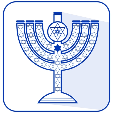 Jewish seven-branched candelabrum menorah with the Star of David, flat design vector illustration in israel national colors blue and white with long shadow
