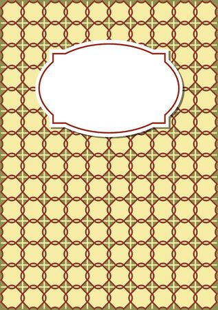 nostalgic: Nostalgic copybook cover in beige design with geometric patterns with blank retro label