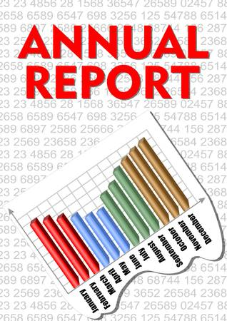 yearly: Annual report cover with small numbers and yearly graph with month label Illustration