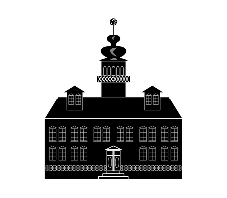 renaissance: Silhouette of a castle in baroque or renaissance style in white and black design Illustration