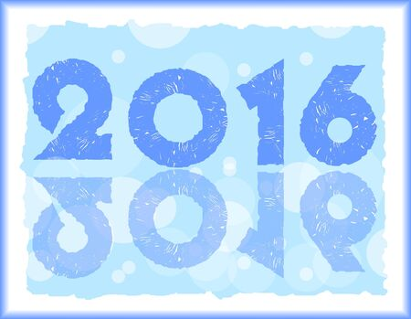 Blue happy new year pf 2016 in ice design,  vector