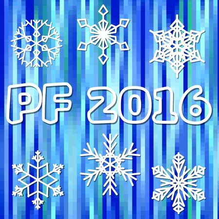pour feliciter: PF 2016 greeting background with white snowflakes on blue pixel designed area