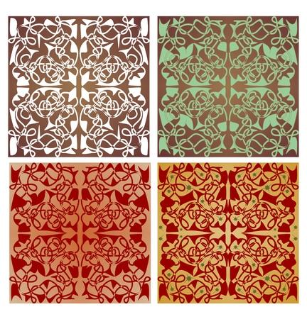 ностальгический: Набор геометрической формы плитки с арт-деко орнамент в ностальгическом цвете