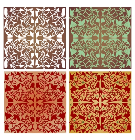 Set of geometric patterned tiles with art deco ornament in nostalgic color