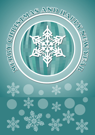 facet: Christmas card with facet christmas ball and snowflakes - modern simple line design in white color on green background.