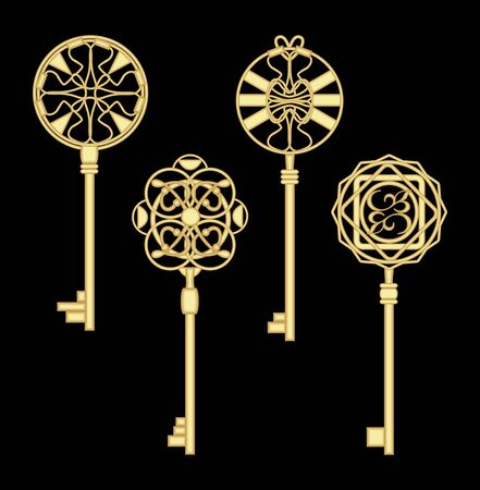 passkey: Antigue door key set in golden metallic design with historic ornamental vintage patterns. Illustration