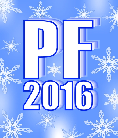 Blue happy new year pf 2016 with snowflakes, eps10 vector