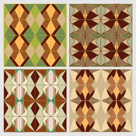 nostalgic: Set of art deco tiles in nostalgic colors. Vintage decorative background