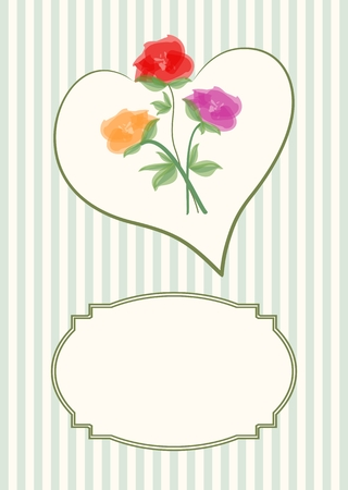 stripped background: Greeting card template with beautiful bouquet of roses in heart shape on soft stripped background with a vintage frame for text message. Illustration