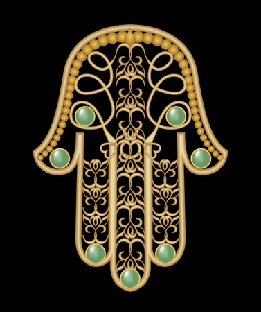 eastern spirituality: Miriam hand - amulet of protection in gold filigree design with green  emerald gem