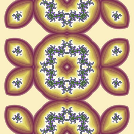 folklore: Fractal patterns in folklore style with fine drawing lavender, computer generated design Stock Photo