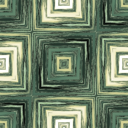 inverse: Modern square patterns in style crayon sketch in beige and dark green