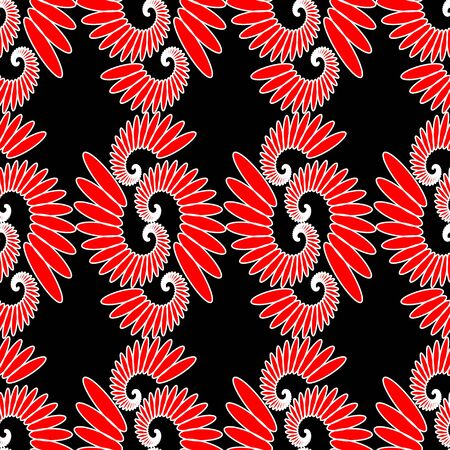 motive: Indian ethnic motive, red and white design on black background, seamless abstract vector tile, eps 10 vector