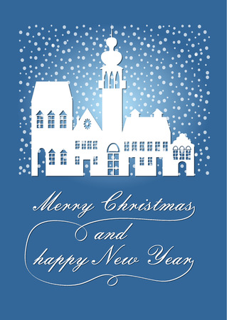 christmas postcard: Poetic white silhouette of the ancient city in the Christmas snowfall, wishes Merry Christmas and a Happy New Year. Blue winter background, december nightfall