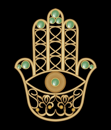 kabbalah: Golden Miriam hand with eye shape in filigree design with green  emerald gem, amulet of protection, vector