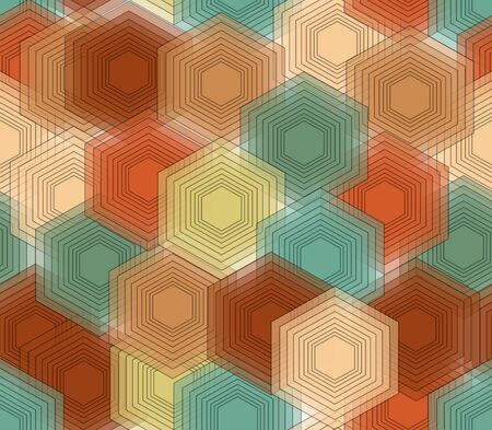 nostalgic: Hexagonal patterns in nostalgic colors, seamless vector abstract background, vector