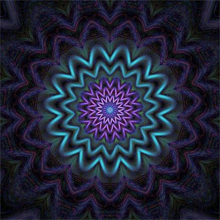 artistic design: Geometric mandala ornament in design silk thread embroidery on black textile