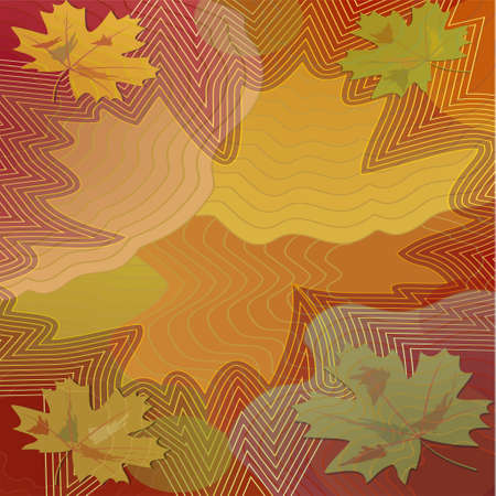 pied: Autumn background with colorful maple leaf within vibrant curves, computer generated image