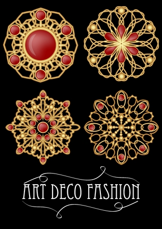 filigree: Set of gold filigree brooch with red gems garnets in art deco style. Round symmetric retro jewel from gold metal