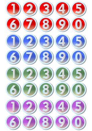 verde y morado: Set of artistic number buttons with frames in metallic silver design in four color variants - red, blue, green, purple, gradient effect. To use in infographic templates, presentation, web