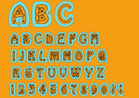 skyblue: Nonconformist bizarre alphabet. Original font set with doodle elements, uppercase characters and numbers, question mark, exclamation mark. Trendy combination of sky-blue and orange colors