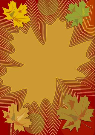 ocher: Autumn theme in the nostalgic colors with colorful maple leaves and curves, background for own text in ocher, dark red and green design Illustration