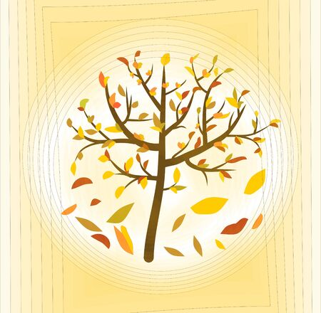 pale yellow: Tree with colorful leaves on a pale yellow abstract background, fine autumn theme Illustration