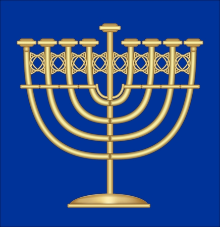 menora: Classic antique gold candlestick, nine-branched candle holder, symbol of jewish feast of Hanukkah Illustration