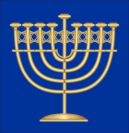 shalom: Classic antique gold candlestick, nine-branched candle holder, symbol of jewish feast of Hanukkah Illustration