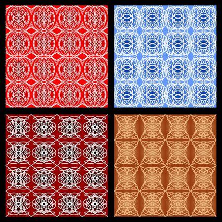 Set of colorful geometric patterns in vintage style, art deco monoline ornament