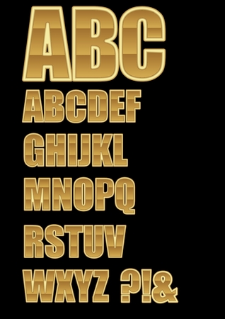 Decorative alphabet in golden design with horizontal lamination, question mark and exclamation mark included