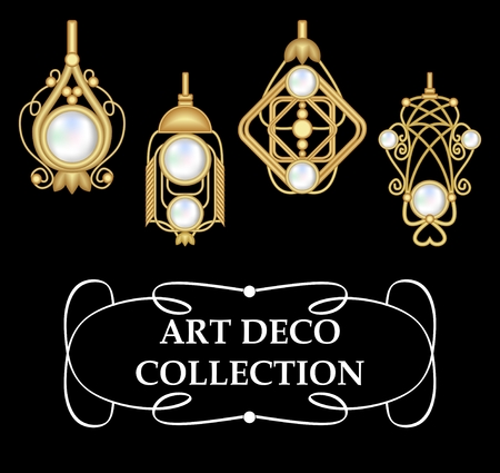 earrings: Collection of elegant gold earrings with pearls art deco. Symmetric classic design, jewel for festive occasions. Illustration