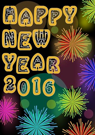 Happy new year billboard with firework stars in vivid colors, original font inscription, bokeh light on background. Useful for new year party 2016, vector eps10