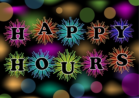 eye catcher: Happy hours billboard with colorful firework and bokeh lights, vector eps10. Trailer for restaurant, bar or discotheque