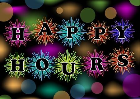 happy hours: Happy hours panneau d'affichage avec feu d'artifice color� et feux de bokeh, vecteur eps10. Bande-annonce pour le restaurant, un bar ou une discoth�que