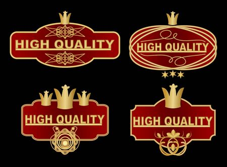 royal quality: Set of high quality label in dark red and gold design with graphic ornate elements, royal crown, stars. High quality vintage stickers in  vector eps 10
