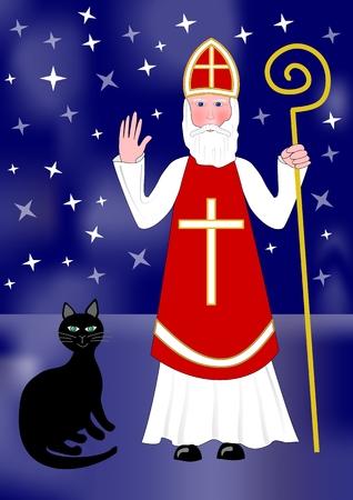 sinterklaas: Santa Nicolas and black cat on night background with stars.