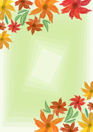 blend: Cheerful grunge spring background with colorful flowers on light green blend area, place for own text, message. Useful for invitation, leaflet, poster, bill
