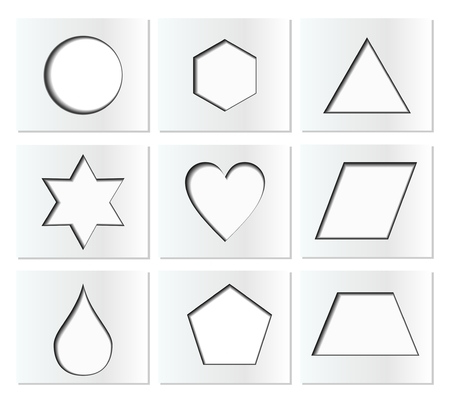 inner: Template for simple geometric shapes with inner shadow - circle, hexagon, triangle, star, heart, drop, pentagon, trapezoid, rhomboid. Nine isolated paper cut blocks in EPS10 vector.