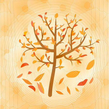 yellow ochre: Autumn tree with falling yellow and red leaves on circle blurry ochre background Stock Photo