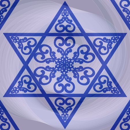 talmud: David star with traditional ornament on blurry white background with twirl structure