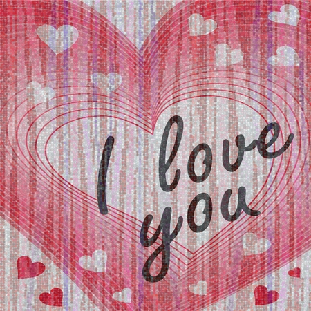 bead embroidery: Heart shape motif with inscription I love you on fine pixelated texture background like bead embroidery. Valentine day decoration.