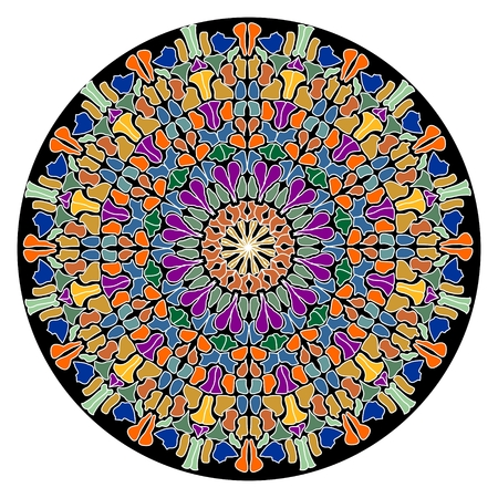 Mandala composed of small colorful slivers. Geometric symmetric round rosette. Pattern for meditation or just for decoration. EPS 10 vector