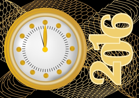 welcome party: New year 2016 greeting card with gold clock in gold net, clock showing midnight. Golden object on black background. Vector EPS 10 for new year welcome party.