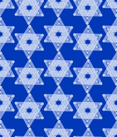 Star of David decoration tile with geometric vintage yew ornament, white stars on dark blue background, design, eps10 vector. Seamless background with religious motif.